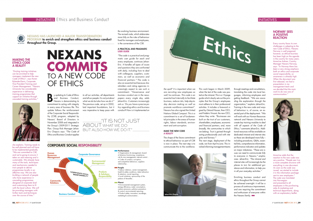 A series of article on the new corporate code of ethics